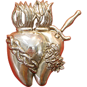 Double Heart 950 Silver Folk Art Milagro