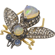 Victorian 14K Gold, Opal, Diamond, and Sapphire Bee Brooch