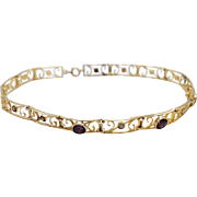 Romantic Victorian Era Amethyst and Pearl 10K Gold Bracelet