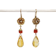 Victorian Coral, Pearl and Citrine, 14KT Gold Cannetille Earrings