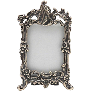 Art Nouveau Sterling Silver Picture Frame with Floral Motif