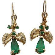 Vintage 14KT Gold & Green Emerald Earrings