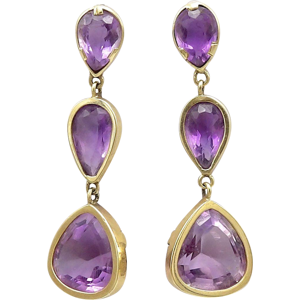 14kt Gold and Amethyst Drop Earrings, 22.25 CTW