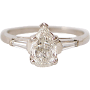 Incredible Platinum and Pear Shaped Diamond Engagement Ring