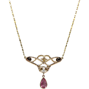 14K Gold, Tourmaline and Seed Pearl Art Nouveau Necklace