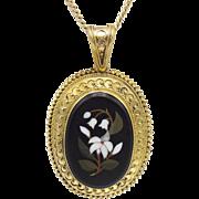 Stunning 19th Century Pietra Dura- 18KT Gold Pendant & Chain