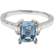 14kt White Gold, Aquamarine, and Diamond Ring