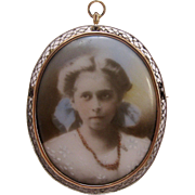 14K Rose Gold Victorian or Edwardian Hand-Painted Portrait Jewelry