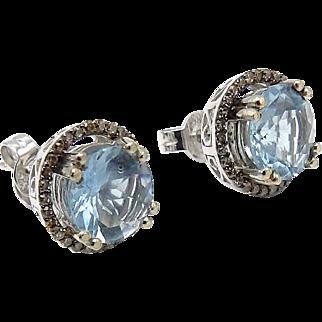 14kt White Gold, Aquamarine, and Diamond Earrings