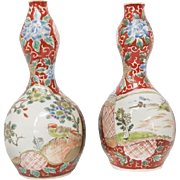 Pair of Overglaze Enamel Japanese Double Gourd Vase