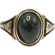 Tourmaline Green 18KT Gold Mourning Ring