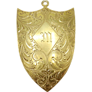 Victorian 18KT Yellow Gold Plate Brass Shield Pendant