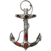 Scottish Agate &  Citrine, Sterling Silver Anchor Brooch or Pendant