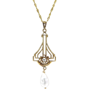 Edwardian 10kt Gold, Diamond, and Pearl Lavalier Pendant on 14kt Gold Chain