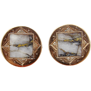 15KT Rose Gold & Gold Rush Gold-Quartz Cufflinks