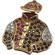 18KT Gold Jockey Uniform Lapel with Ruby, Diamond and Sapphire Micro-Pavé
