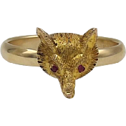 Victorian 14KT Gold & Ruby Fox Ring