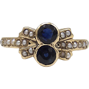 14KT Gold, Pearl & Sapphire Edwardian Ring