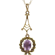 14 KT Gold & Amethyst Pendant on Chain