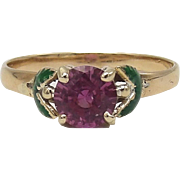 Romantic 14KT Gold, Pink Sapphire, Green Enamel Flower Ring