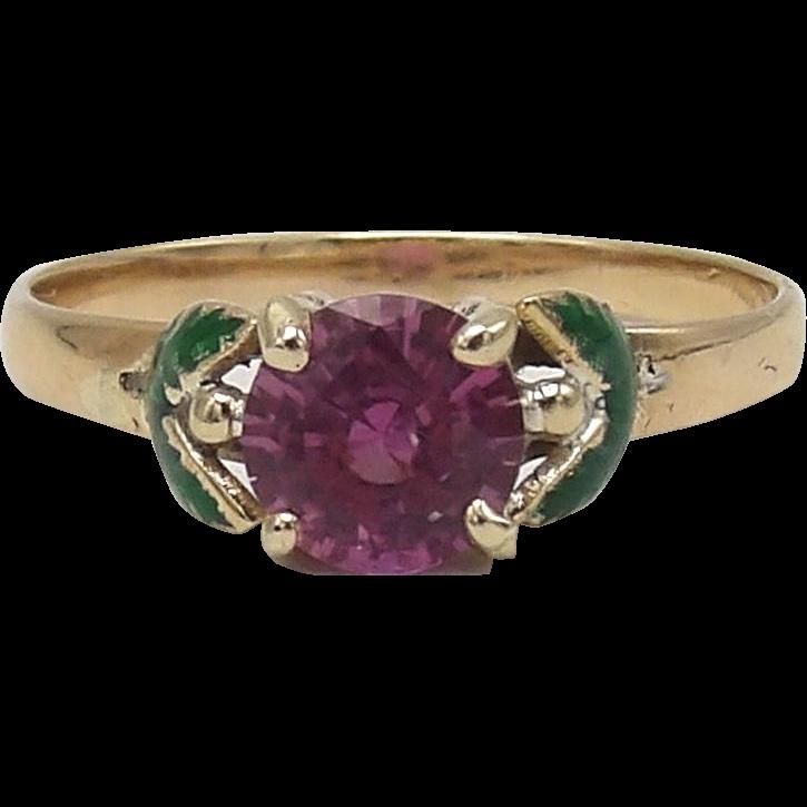 Romantic 14KT Gold, Pink Sapphire, Green Enamel Flower Ring