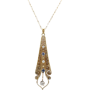 Edwardian 14KT Gold Sapphire and Diamond Pendant