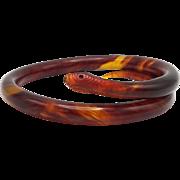 Vintage Bakelite Faux Tortoise Shell Snake Bracelet