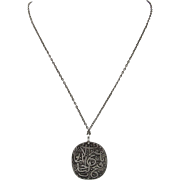 19thC. Sterling Silver Turkish Script Prayer Pendant