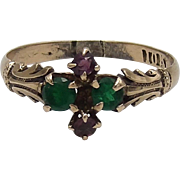 Romantic Victorian Amethyst, Emerald, 10K Gold Ring