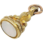 Victorian 12kt Gold-Cased Fob with Milky Quartz