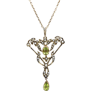 Edwardian 14kt Gold, Peridot and Seed Pearl Lavalier Necklace