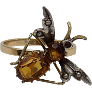 14KT Gold Citrine Bug Art Nouveau Ring