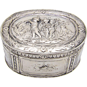 Oval Continental Silver Box with Children Playing