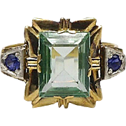 14kt Gold, Aquamarine and Sapphire Ring, Circa 1910