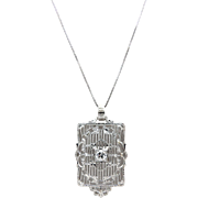 14kt White Gold and Diamond Art Deco Filigree Necklace