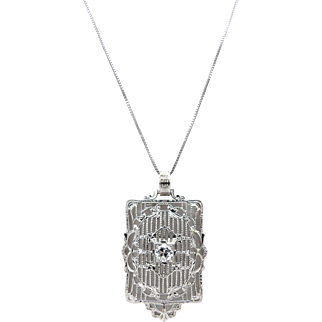 14kt White Gold and Diamond Art Deco Filigree Necklace