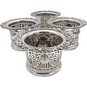 Set of Four Silver Plated Wine Holders by Barker Ellis, circa 1912