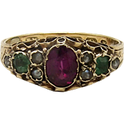 Georgian Era 15KT Gold Amethyst, Emerald and Pearl Ring