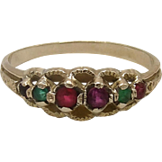 Georgian 15KT Gold Acrostic 6 Gemstone Ring