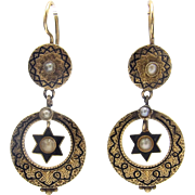 Victorian Crescent Moon and Star 15KT Gold & Black Enamel Earrings