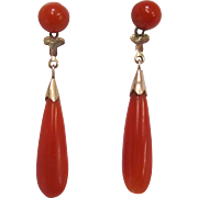Natural Deep Salmon Coral Victorian Earrings with 14K Gold Posts with Tear Drop