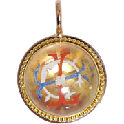 Charming French 20K Gold and Rock Crystal Pendant