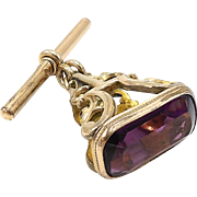 Rolled Gold and Amethyst  Glass Colored Fob