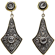 Victorian 15K Gold Back and Silver Front  Diamond Earrings