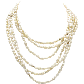Vintage 14KT Gold & Baroque Seed Pearl Necklace