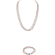 Vintage Pink Pearl Necklace and Bracelet Matching Set