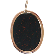 Bold 18K Rose Gold and Bloodstone Pendant