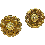 Victorian 14kt Gold Etruscan Revival Disc Earrings