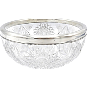 American Brilliant Cut Glass Bowl with Sterling Silver Rim by Gorham