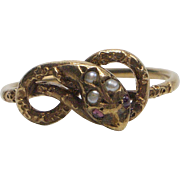 Seed Pearl, Ruby and 14kt Gold Snake Ring